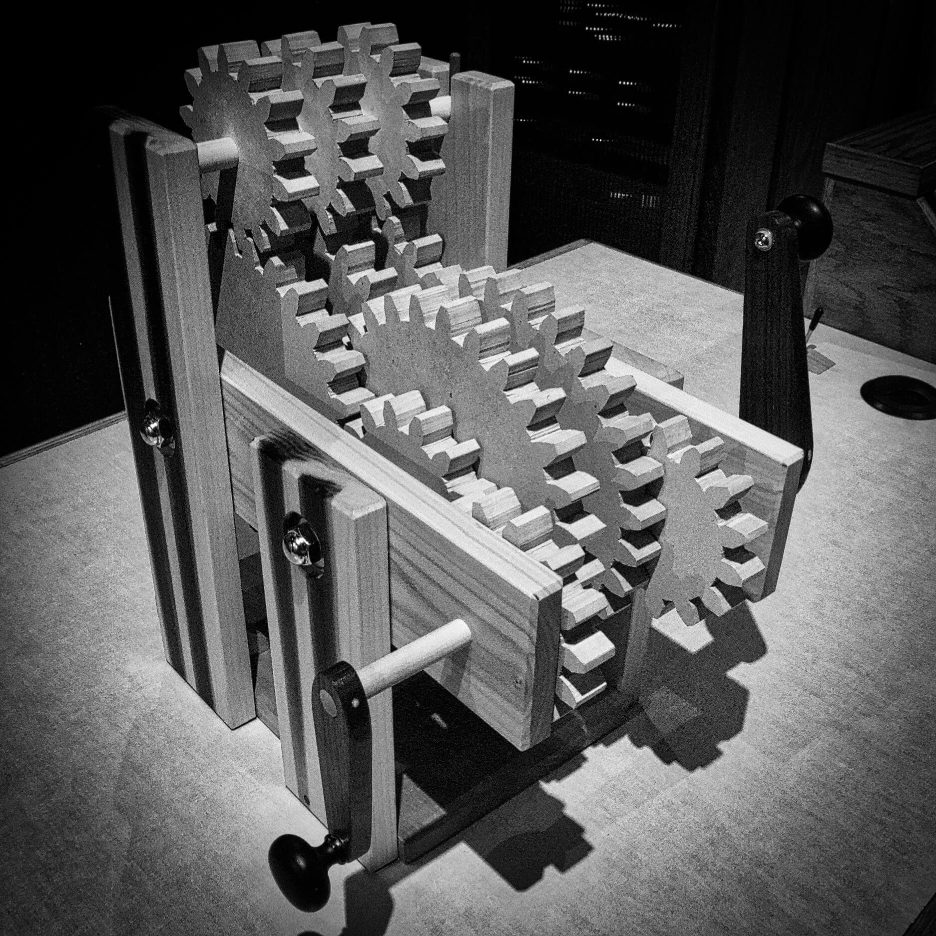 Gear Train image in black and white