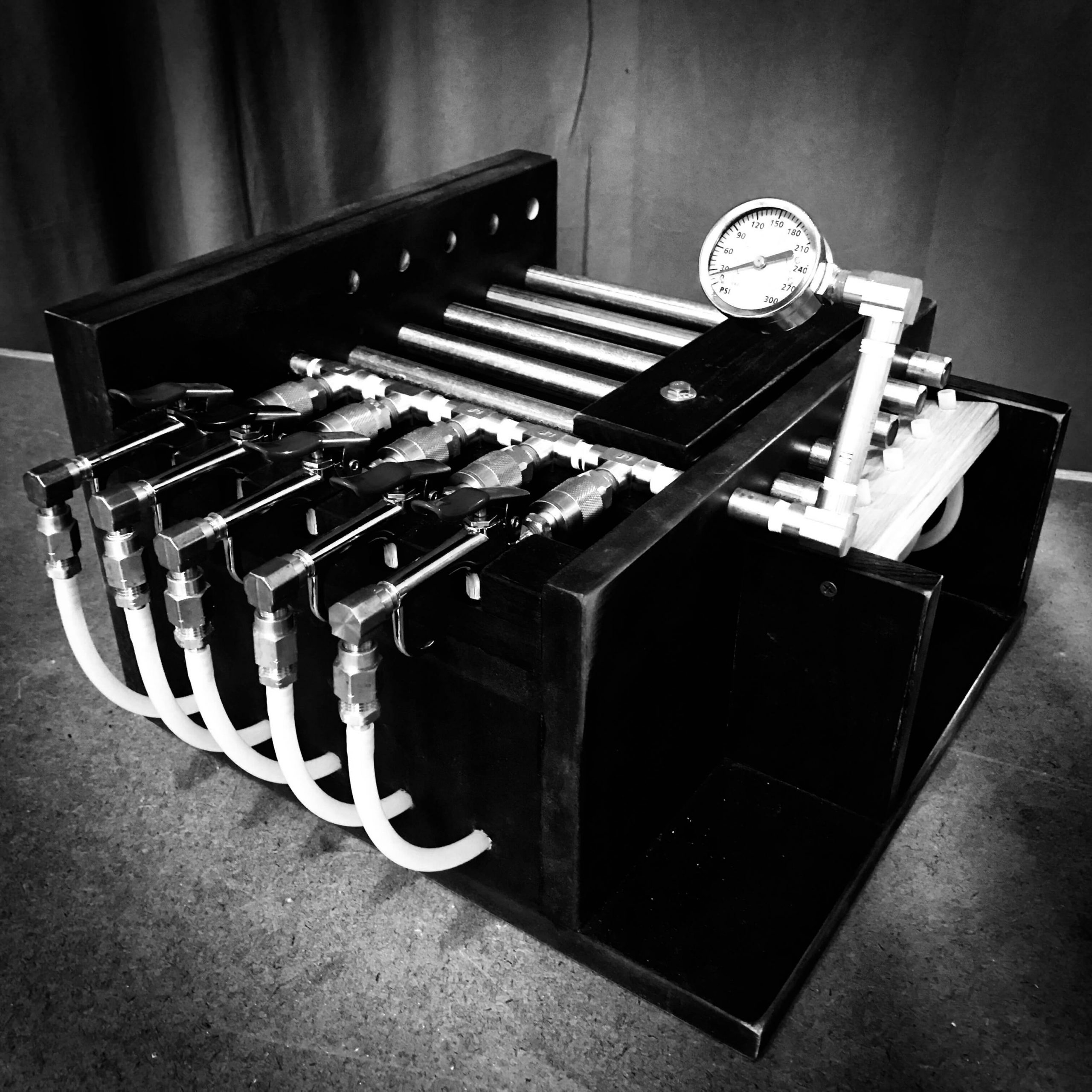 Powered Pan Pipe image in black and white